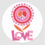 Peace and LOVE flower Round Stickers