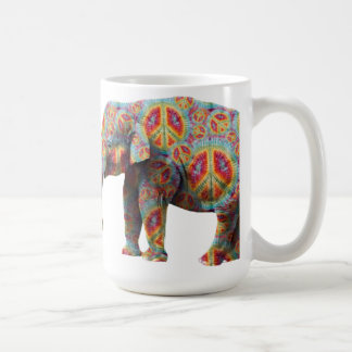 Peace and Love Hippie Elephant Mug