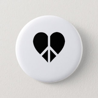 Peace and love in one heart 2 inch round button
