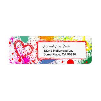 Peace and Love Paint Splatter (customizable) Return Address Label