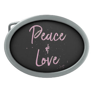 PEace-and-Love-Pink Belt Buckles