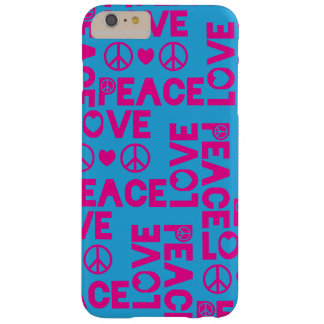 Peace and Love Pink Blue Barely There iPhone 6 Plus Case