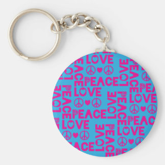 Peace and Love Pink Blue Basic Round Button Keychain