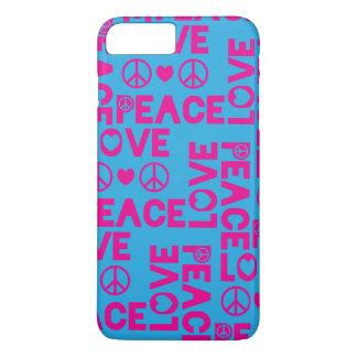 Peace and Love Pink Blue iPhone 7 Plus Case
