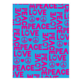 Peace and Love Pink Blue Postcard