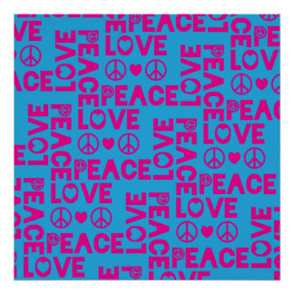Peace and Love Pink Blue Print