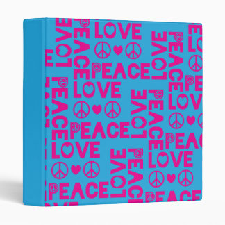 Peace and Love Pink Blue Vinyl Binder