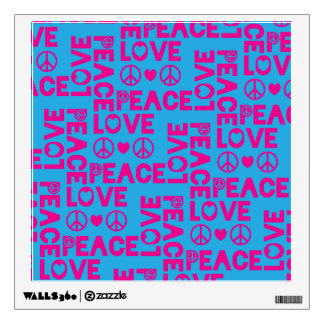 Peace and Love Pink Blue Wall Decal