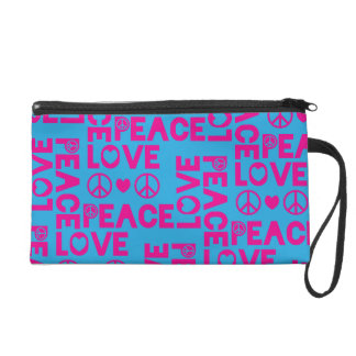 Peace and Love Pink Blue Wristlet Purses