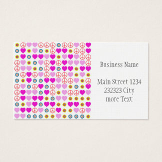 peace and love, pink business card