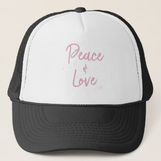 PEace-and-Love-Pink Trucker Hat