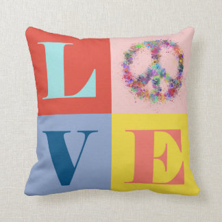 Peace and Love | Pop | Modern Throw Pillow