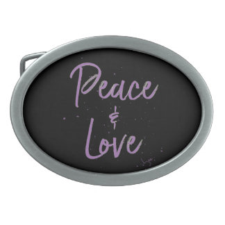 PEACE-and-Love-Purple Belt Buckles