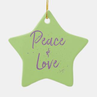 PEACE-and-Love-Purple Ceramic Ornament