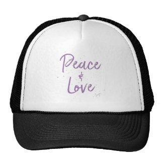 PEACE-and-Love-Purple Trucker Hat