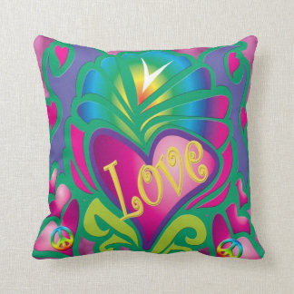 Peace and Love Retro Style Throw Pillow