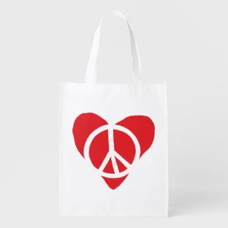 Peace and Love Reusable Grocery Bag