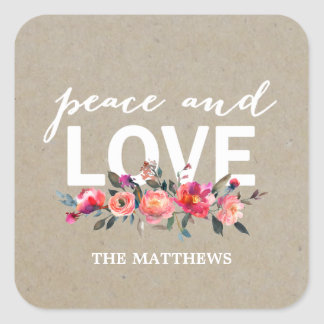 Peace and Love Rustic Floral Holiday Sticker