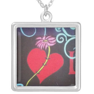 Peace and Love Silver Plated Necklace