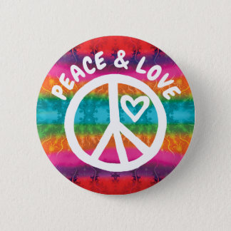 Peace and Love Tie Dye Stripes 2 Inch Round Button