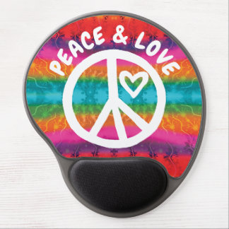 Peace and Love Tie Dye Stripes Gel Mouse Pad