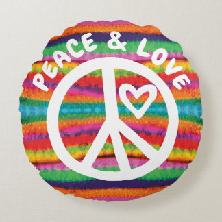 Peace and Love Tie Dye Stripes Round Pillow