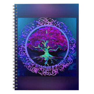 Peace and Love Tree of Life in Blue Spiral Note Book