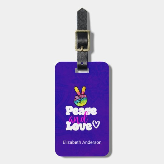 Peace and Love Typography Rainbow Hand Peace Sign Luggage Tag