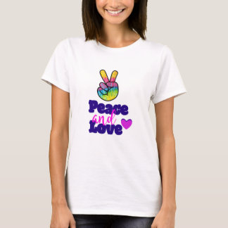 Peace and Love Typography Rainbow Hand Peace Sign T-Shirt