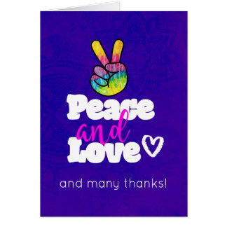 Peace and Love Typography with Rainbow Hand Thanks Card