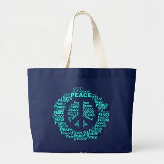Peace bag - blue text, choose style