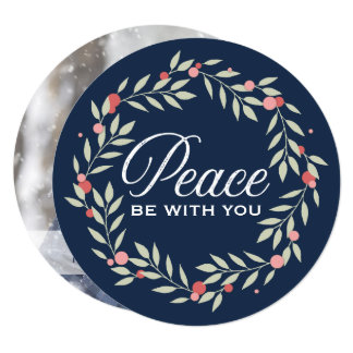 Peace Be With You Wreath | Holiday Custom Photo Card