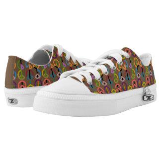 Peace Beat / Custom Zipz Low Top Shoes (Brown)