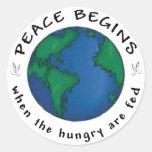 Peace Begins Round Sticker