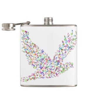 Peace bird flying in harmony and cooperation hip flask