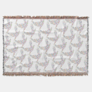 Peace bird flying in harmony and cooperation throw blanket