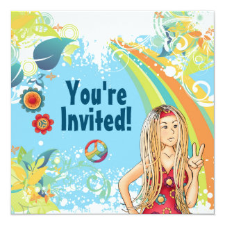 Peace Blonde Hippie Girl Birthday Party Invitation