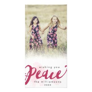 Peace Brush Script Christmas Holiday Photo Custom Photo Card