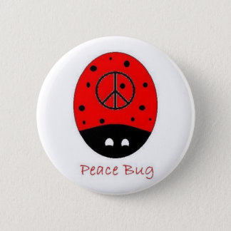 peace bug button white