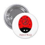 peace bug mini button white
