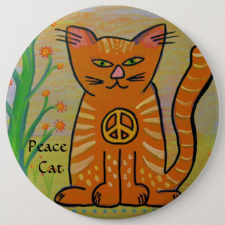 Peace Cat with Flowers 6 Inch Round Button