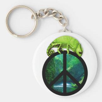 peace chameleon keychain