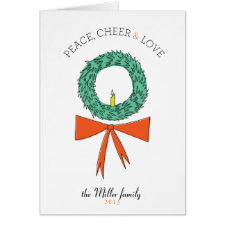 Peace Cheer and Love Retro Wreath Folded Greeting Card