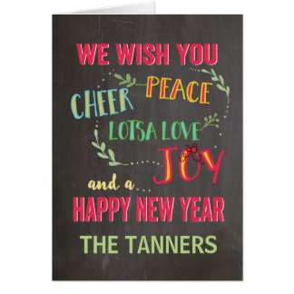 Peace, Cheer, Joy,  New Year Greeting Card