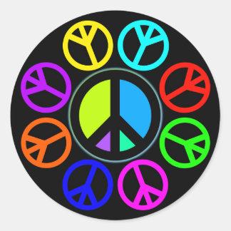 PEACE COLOR WHEEL ROUND STICKER