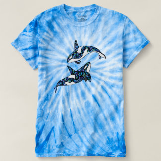 Peace ~ Colorful Psychedelic Trippy Orca Whales T-shirt