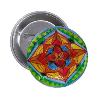 Peace Compass Mandala Round Badge 2 Inch Round Button