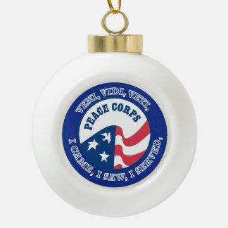 Peace Corps VVV Shield Ceramic Ball Christmas Ornament