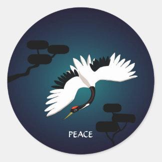Peace Crane Round Sticker