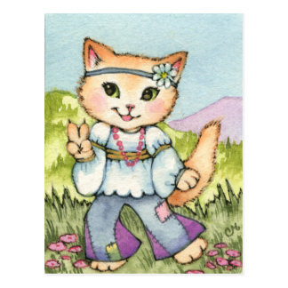 Peace - Cute Hippie 60s Cat Art Postcard
